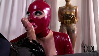 He wants to try out the newbie in latex and she licks his dick and more