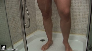 Lovely famme fatale takes shower with her well-shaped and rounded partner