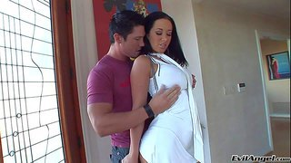 Jayden james is a dangerously sexy big boobed brunette in short white dress. she gives blowjob to hard dicked guy before he parts her legs to get her wet snatch finger fucked. hot scene!