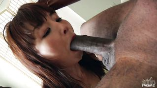 Skinny asian chick gets plastered in cum