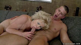 Effie is a sex obsessed granny with big tittiies and hairy pussy. she gets her many times used vagina fucked hard again by her young fuck buddy with rock hard cock. watch her enjoy hardcore sex.