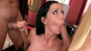 Brunette secretary larissa dee gets promotion by having her boss and his business partner ram her tight holes