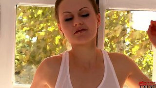 Sensual redhead tina kay shows her body through wet shirt