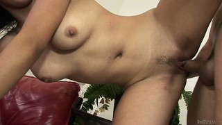 Brunette slut sucking the cock of her stepbrother after some hardcore fucking