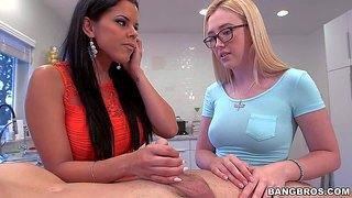 Diamond kitty is a well experienced woman who is good at giving handjob. tender four-eyed teen blonde is her virgin step-daughter with no cock sucking experience. she takes dude's hard dick in her mouth for the first time under mom's control.