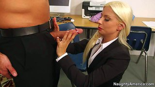 Blonde babe jessie volt gets a new office partner bill bailey and seduces him instantly on the first lunch break and gets slammed big time on the desk