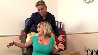 Ultra busty business lady sandra boobies fucking with gallant worker in the office