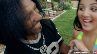 Zarreena is a 20 year old sweet persian girl with petite body and black hair. bikini girl goes topless in front of black guy in the garden. he touches her perky tits before she sucks his big dark dick.