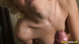 Blonde lacey leveah poses playfully before masturbating