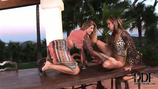 The two hot lesbians are perfect for each other, kissing, sucking and licking