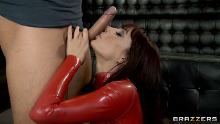 Busty bitch in red latex outfit gets her meaty cunt fingered hard