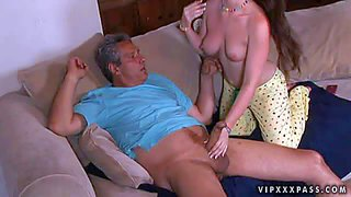 Cute girl jennifer white in barely there pajamas shows off her firm boobs and shapely bare apple ass while giving non-stop blowjob to chubby older man. she loves his meaty mature cock.