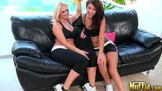 Lesbian sex on the sofa by esmi lee and molly cavalli