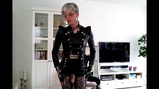 Sissy sexy leather outfit 1