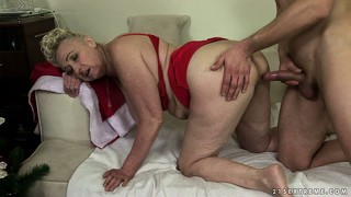 A young cock is the perfect christmas gift for this plump blonde grandma