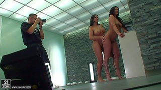 Simony and her friend cathy enjoy in posing naked on the set and doing all nasty poses and having fun in revealing their sexy curves in high heel shoes and no clothes