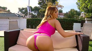Hot ass blonde whore aleska diamond teases outdoor