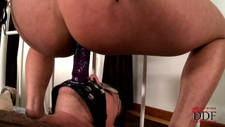 She sits on his face strapon dildo and he fucks her ass with it