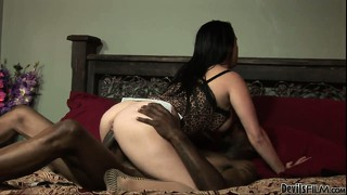 Chubby brunette babe gets fucked by a well-hung ebony stallion