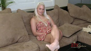Blue-eyed blonde macy cartel in dress and shoes shows off her sexy legs during interview. she wears irresistible smile on her beautiful face. this young chick is a real seductress.