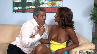 Hot ebony chick jade nacole pulls down her yellow top and shows her sexy natural tits to her aged white step-dad. he loves her brown boobies and pulls out his dick. she gives head to older man with big enthusiasm.