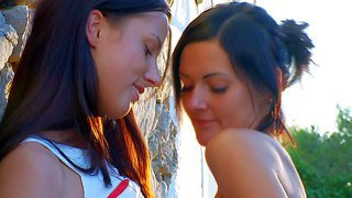 Adria and mara are two young dark haired lesbian girls with hot bodies and sweet pussies. busty chick strips down to her bare skin and gets her snatch tongue fucked by her friend in the open place.