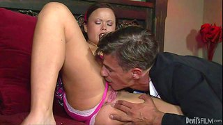 Kaci starr is a slutty college girl. cute brunette in pink has fun sucking her step-daddy's hard mature cock. kaci starr gives head to skinny older man with big enthusiasm.