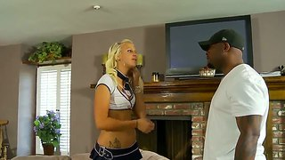 Gorgeous blonde temptress seduces her black stepfather