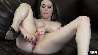 Tessa works that toy in and out to get her pussy nice and juicy