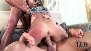 She gets popped and blows the other rod, and gets a hard dp fucking