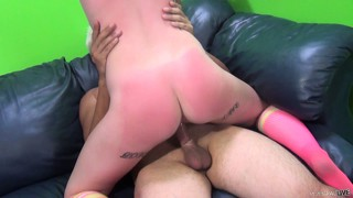 Good-looking chick gets her ass spanked and cunt stuffed by big weiner