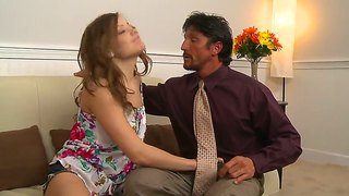 The seductive pornstar ashlynn leigh makes the hot blowjob to her father tommy gunn