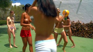 Adria, beata, ivana, lily, mia and vika are hot teen girls go get together to play sexy basketball. they play topless and show off their perky boobs in the sun before they take off their panties.