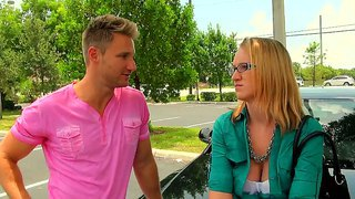 Naughty dude picked up a hot bespectacled blonde mum that is desperate for a job