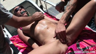 Nikki has a guy tying her up and playing with her huge boobs and tight holes