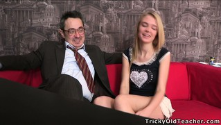 Sightly and slender blonde mary is seduced by old and dirty lecher