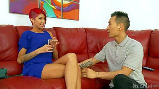 Layla carrera is a sexy short haired redhead milf with long legs and sweet pussy. she's his step-mom. she can't keep his tongue off her snatch after she parts her sexy legs. keni styles licks her sweet pussty with big desire.