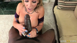 In preparation for hard fornication nikki sexx sucks a black dong and opens her pussy for some licking