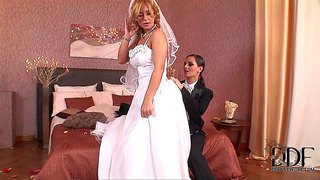 Two gorgeous and sexy lesbian babes dorothy black and eve angel enjoy in their passionate and dirty role play games in their sex session, but this time they are bride and the groom