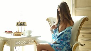 Exceptional beauty by sexy anjelica touching her innocent nipples with cool spoon in the early morning