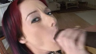 Hot redhead sucks and fucks in interracial pov scene
