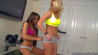 Celeste star and kiara diane are lesbian fitness girls. there's nothing better than pussy licking after hard workout. they get naked in the gym room and then brunette with natural tits gets her trimmed pussy tongue fucked by hot blonde.