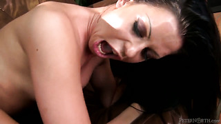 Larissa dee makes lee stone's sturdy worm disappear in her mouth in sexual ecstasy