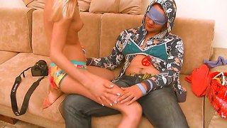 Tight ass blonde loly teases blindfolded stud