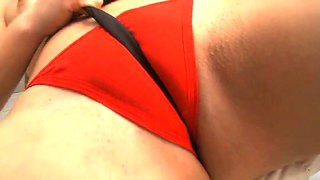 Hot brunette cameltoe in red panties - xxx vid