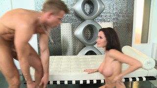 Busty brunette mom uses her new rack for a titjob then gets nailed in her cunt