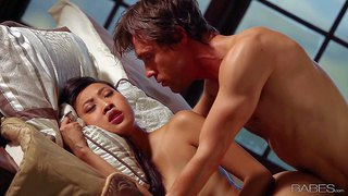 Attractive oriental girl sharon lee with slim figure gets her tight asian pussy banged by her sex starved boyfriend. passionate exotic girl with natural tits gets shagged and loves it.