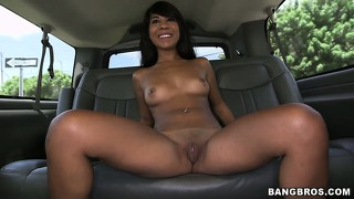 Cute latina amateur wants to make more cash so she spreads her legs on the bang bus