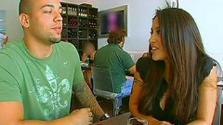 Jenaveve jolie is a dark haired stacked latina who makes man happy. he spends a day with adorably sexy mexican pornstar. she looks great in tight pink sportswear and bikini. he takes a jacuzzi with her.