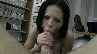 Aliz almost chokes as she swallows a huge hard cock